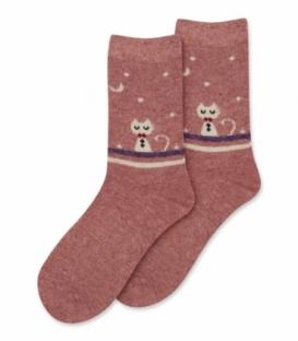 جوراب پشمی Coco & Hana ساقدار طرح گربه در شب زمستانی گلبهی