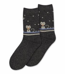 جوراب پشمی Coco & Hana ساقدار طرح گربه در شب زمستانی دودی
