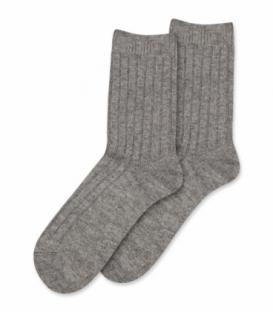 جوراب پشمی Coco & Hana ساقدار طرح راه راه خاکستری روشن