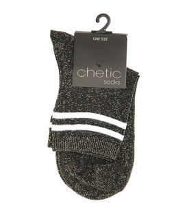 جوراب Chetic چتیک لمهای خاکستری تیره خط دار