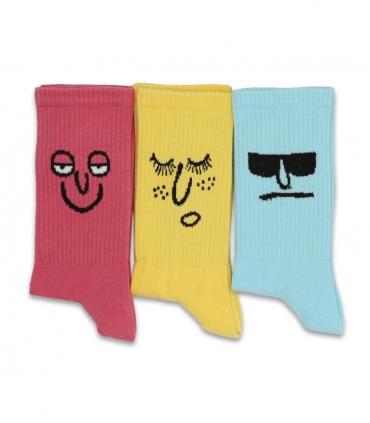 پک جوراب ساقدار کش انگلیسی طرح صورتک رنگی 1 - 3 جفت