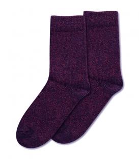 جوراب پشمی ساقدار طرح برفک بنفش
