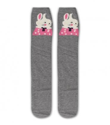 جوراب زیر زانو طرح خرگوش خاکستری