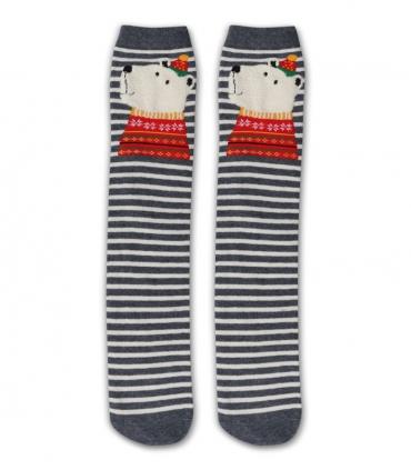 جوراب زیر زانو طرح خرس قطبی کریسمسی راه راه خاکستری سفید
