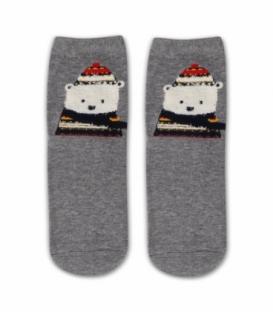 جوراب نیم ساق طرح خرس سرمایی خاکستری