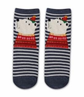 جوراب نیم ساق طرح خرس قطبی کریسمسی راه راه سرمهای سفید