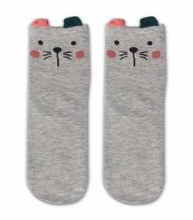جوراب نیم ساق طرح گربه گوشدار خاکستری