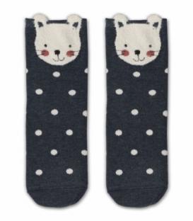 جوراب نیم ساق طرح گربه خال خالی گوشدار دودی سفید