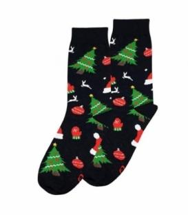 جوراب ساقدار نانو پاتریس طرح کاج کریسمس مشکی