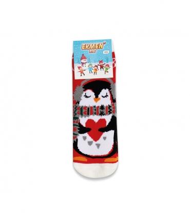 جوراب حولهای بچگانه ساقدار Ekmen طرح پنگوئن قلبی قرمز