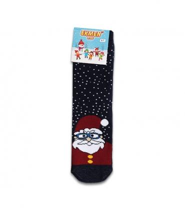 جوراب حولهای بچگانه ساقدار Ekmen طرح بابانوئل برفی سرمهای