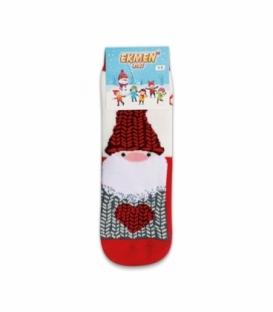 جوراب حولهای بچگانه ساقدار Ekmen طرح بابانوئل سفید قرمز