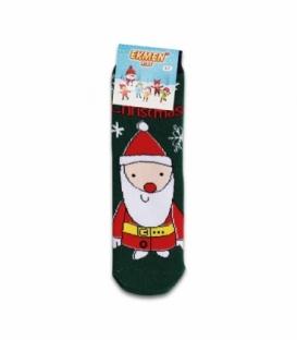 جوراب حولهای بچگانه ساقدار Ekmen طرح بابانوئل سبز تیره