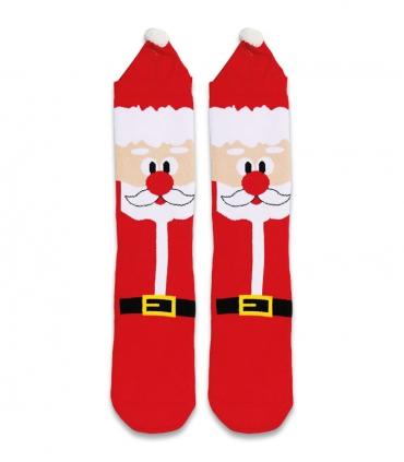 جوراب حولهای منگولهدار کف استپدار ساقدار Ekmen طرح بابانوئل قرمز