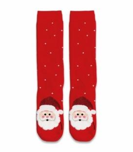 جوراب حولهای ساقدار Ekmen طرح بابانوئل اکلیلی قرمز