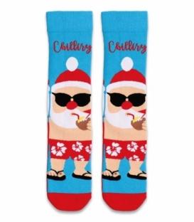 جوراب حولهای ساقدار Ekmen طرح بابانوئل آبی