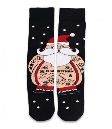 جوراب حولهای مکمل ساقدار Ekmen طرح بابانوئل مشکی