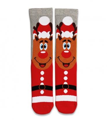 جوراب حولهای ساقدار Ekmen طرح گوزن خاکستری و قرمز