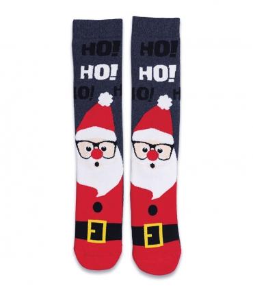 جوراب حولهای ساقدار Ekmen طرح بابانوئل خاکستری