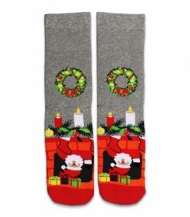جوراب حولهای ساقدار Ekmen طرح کریسمس خاکستری