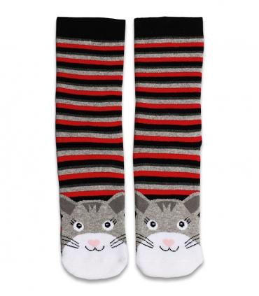 جوراب حولهای ساقدار Ekmen طرح گربه راهراه