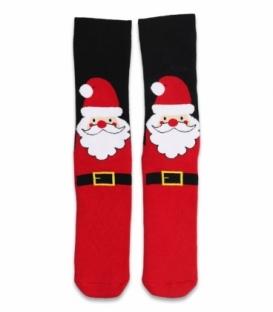 جوراب حولهای کف استپدار ساقدار Ekmen طرح بابانوئل قرمز مشکی