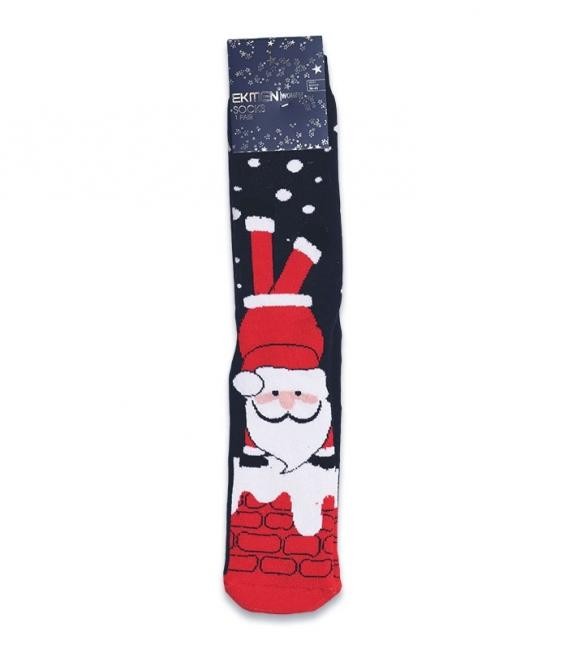 جوراب حولهای کف استپدار ساقدار Ekmen طرح بابانوئل سرمهای قرمز