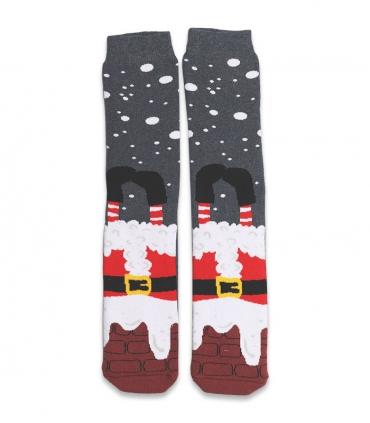 جوراب حولهای کف استپدار ساقدار Ekmen طرح بابانوئل خاکستری