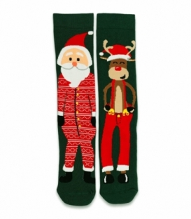جوراب حولهای لنگه به لنگه ساقدار Ekmen طرح بابانوئل و گوزن سبز