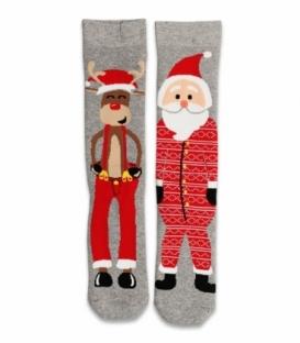 جوراب حولهای لنگه به لنگه ساقدار Ekmen طرح بابانوئل و گوزن خاکستری