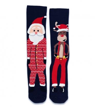 جوراب حولهای لنگه به لنگه ساقدار Ekmen طرح بابانوئل و گوزن سرمهای
