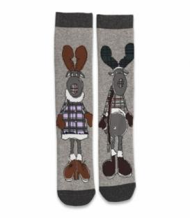 جوراب حولهای لنگه به لنگه ساقدار Ekmen طرح گوزنها خاکستری