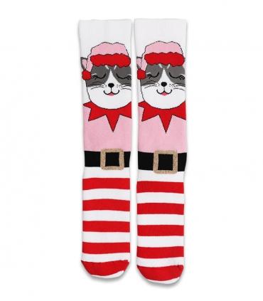 جوراب حولهای ساقدار Ekmen طرح گربه صورتی و راهراه