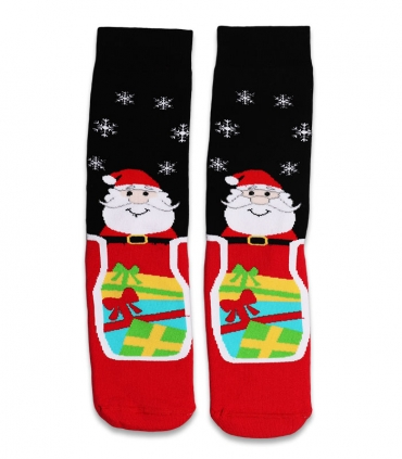 جوراب حولهای ساقدار Ekmen طرح بابانوئل مشکی و قرمز