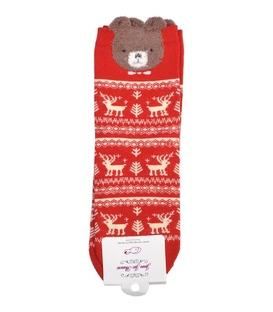 جوراب نیمساق گوشدار طرح خرس کریسمسی