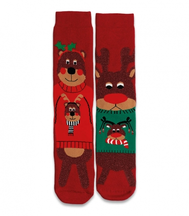 جوراب حولهای لنگه به لنگه ساقدار Ekmen طرح خرس و گوزن قرمز