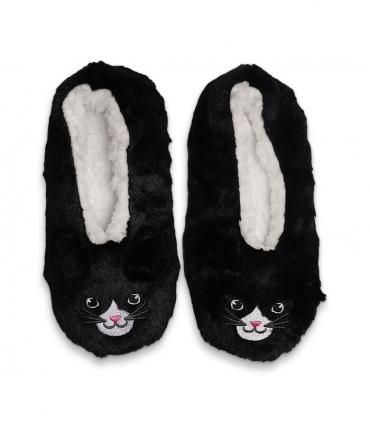 پاپوش پشمی گوشدار کف استپدار طرح گربه مشکی