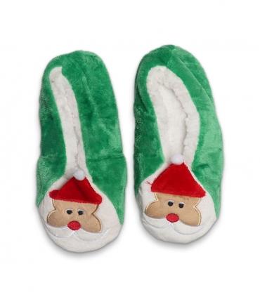 پاپوش پشمی گوشدار کف استپدار طرح بابانوئل سبز سفید