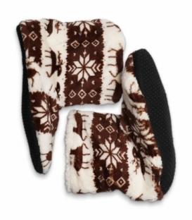 پاپوش پشمی ساقدار کف استپدار طرح گوزن هندسی قهوهای سفید