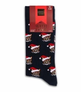 جوراب نخی ساقدار Ekmen اکمن طرح گربه کریسمسی سرمهای