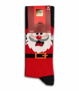 جوراب نخی ساقدار Ekmen اکمن طرح بابانوئل متعجب قرمز