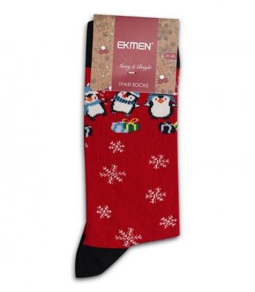 جوراب نخی ساقدار Ekmen اکمن طرح پنگوئن و دانه برف قرمز