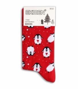 جوراب نخی ساقدار Ekmen اکمن طرح پنگوئن قلبی قرمز