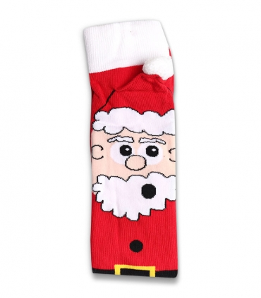 جوراب نخی منگولهدار ساقدار Ekmen اکمن طرح بابانوئل قرمز