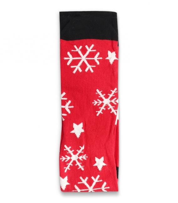 جوراب نخی منگولهدار ساقدار Ekmen اکمن طرح بابانوئل و برف قرمز