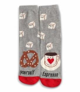 جوراب نخی لنگه به لنگه ساقدار Ekmen اکمن طرح قهوه اسپرسو خاکستری