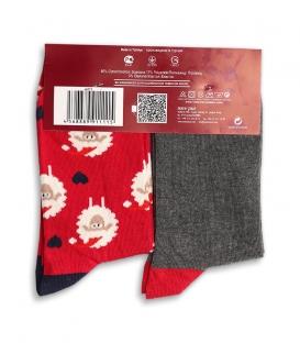 پک جوراب The Perfect Gift ساقدار Ekmen اکمن طرح گوسفند و سگ قرمز خاکستری تیره