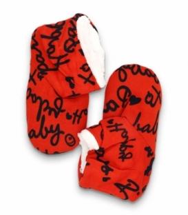 پاپوش پشمی ساقدار کف استپدار طرح حروفی قرمز
