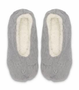 پاپوش پشمی فانتزی کف استپدار طرح خرگوش خواب خاکستری