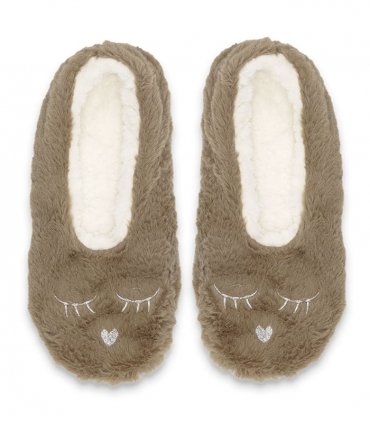 پاپوش پشمی فانتزی کف استپدار طرح خرگوش خواب قهوهای